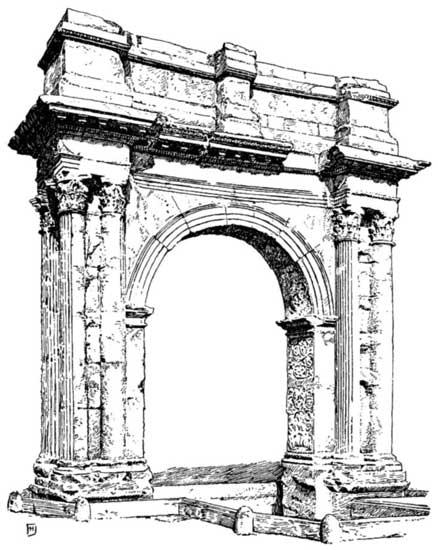 Rycina ukazująca łuk triumfalny w Puli