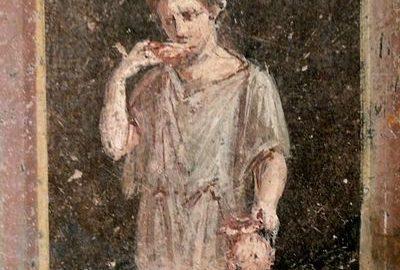 Kobieta na balkonie na rzymskim fresku