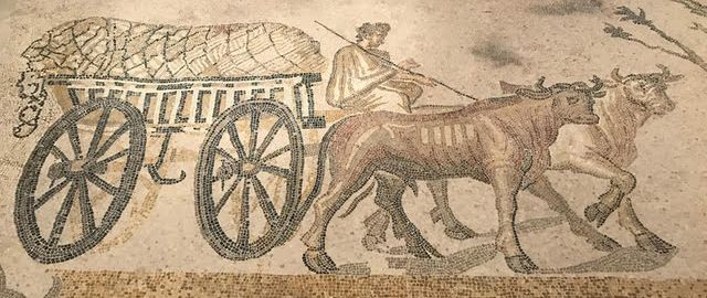 Roman mosaic from Orbe showing a four-wheeled wagon.