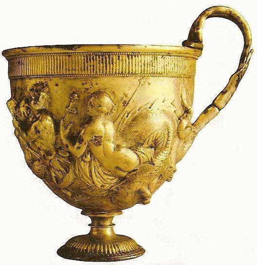Piękny rzymski złoty puchar