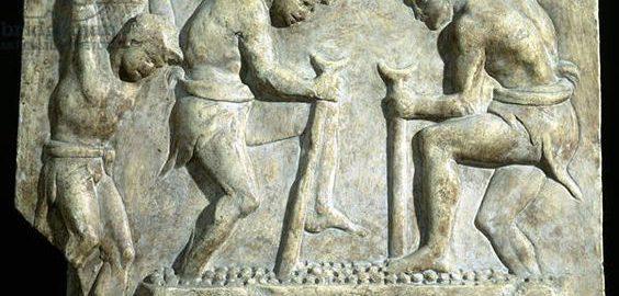 Relief ukazujący wyciskanie soku z winogron