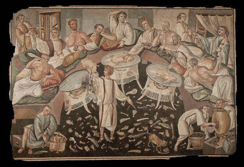 Roman mosaic with Symposium scene