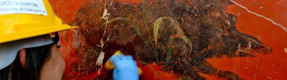 Fresco from Pompeii showing a boar
