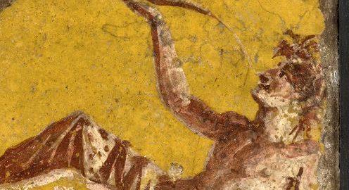Rzymski fresk ukazujący pijącego mężczyznę