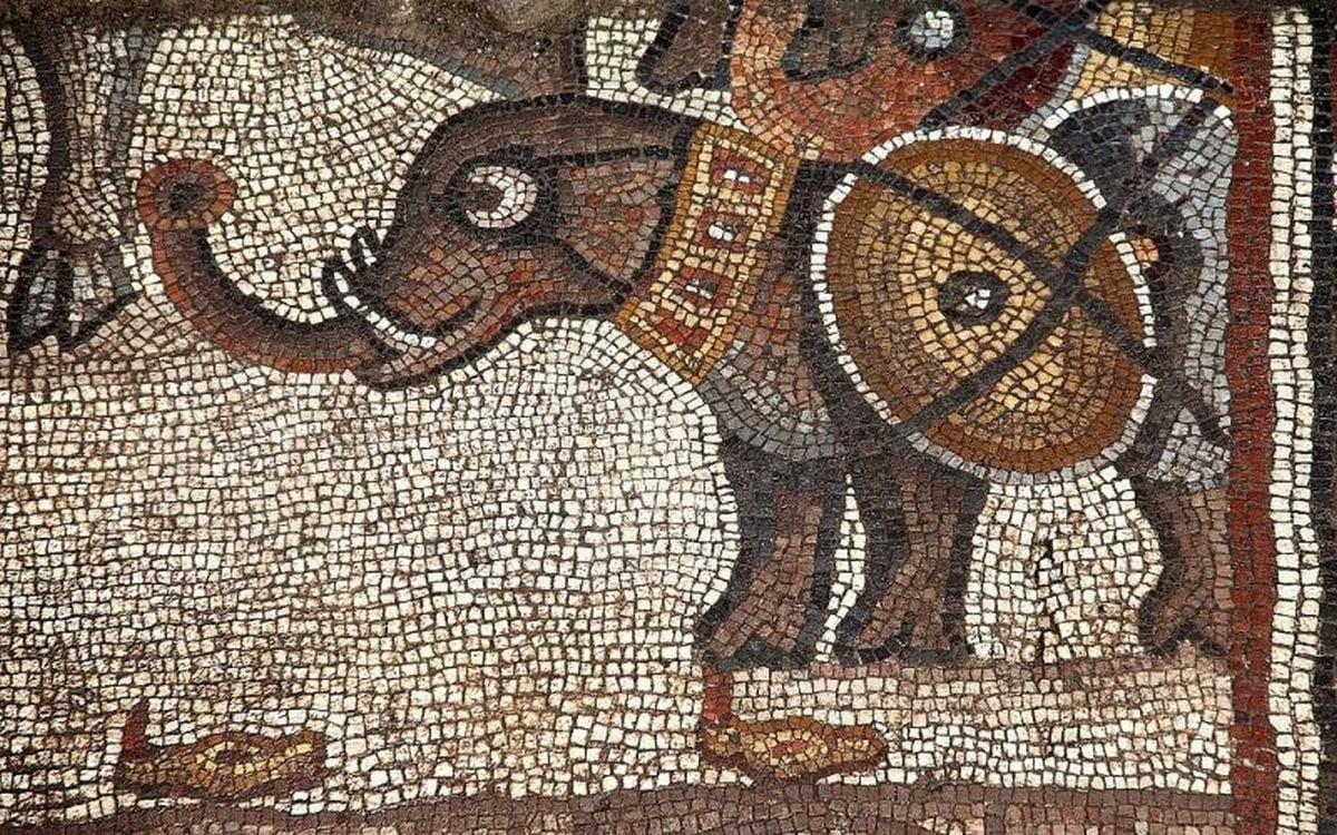 Słoń na rzymskiej mozaice