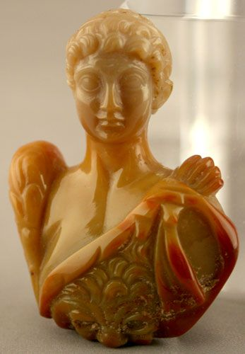 Carnelian or agate sculpture showing unknown emperor