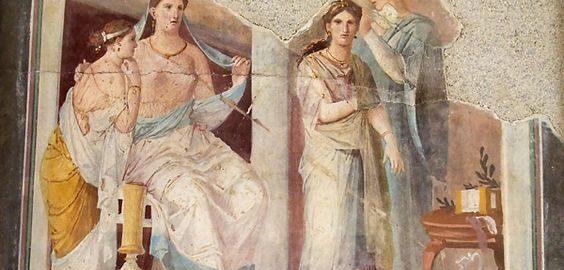 Rzymski fresk ukazujący scenę ubioru