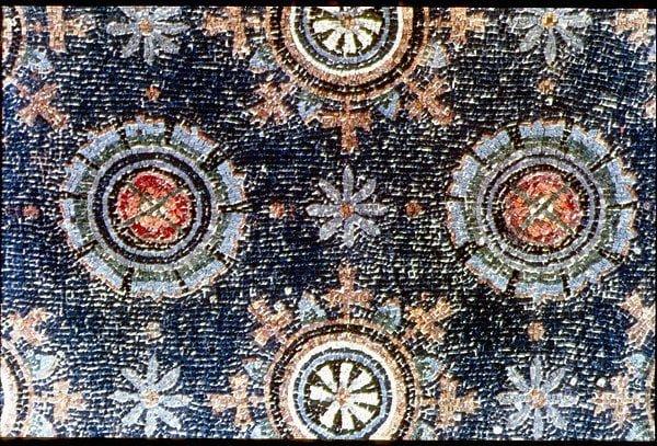 Piękna mozaika rzymska ukazująca geometrię