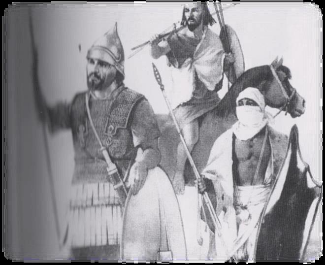 Wojownicy z Afryki. Od lewej: arystokrata numidyjski, jeździec mauretański, lekkozbrojna piechota mauretańska