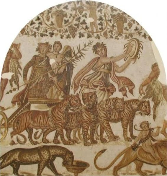 Bacchus in a quadriga pulled by tigers