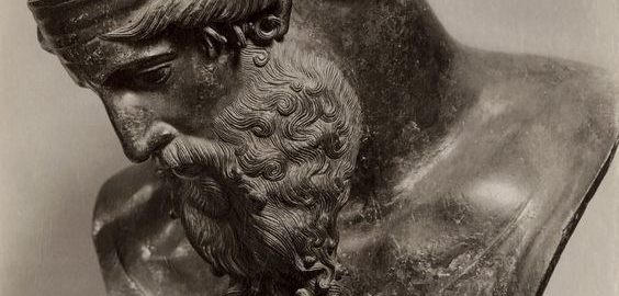 Roman sculpture of Bacchus in a photo from the 19th century