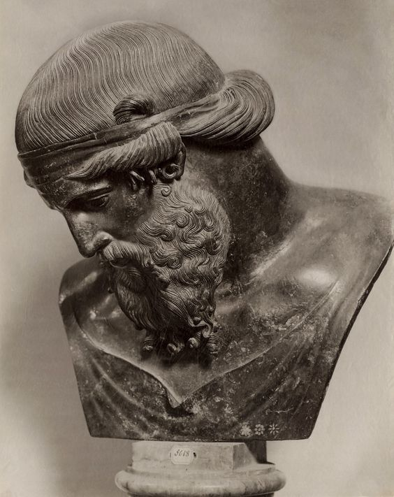 Rzymska rzeźba Bachusa na zdjęciu z XIX wieku