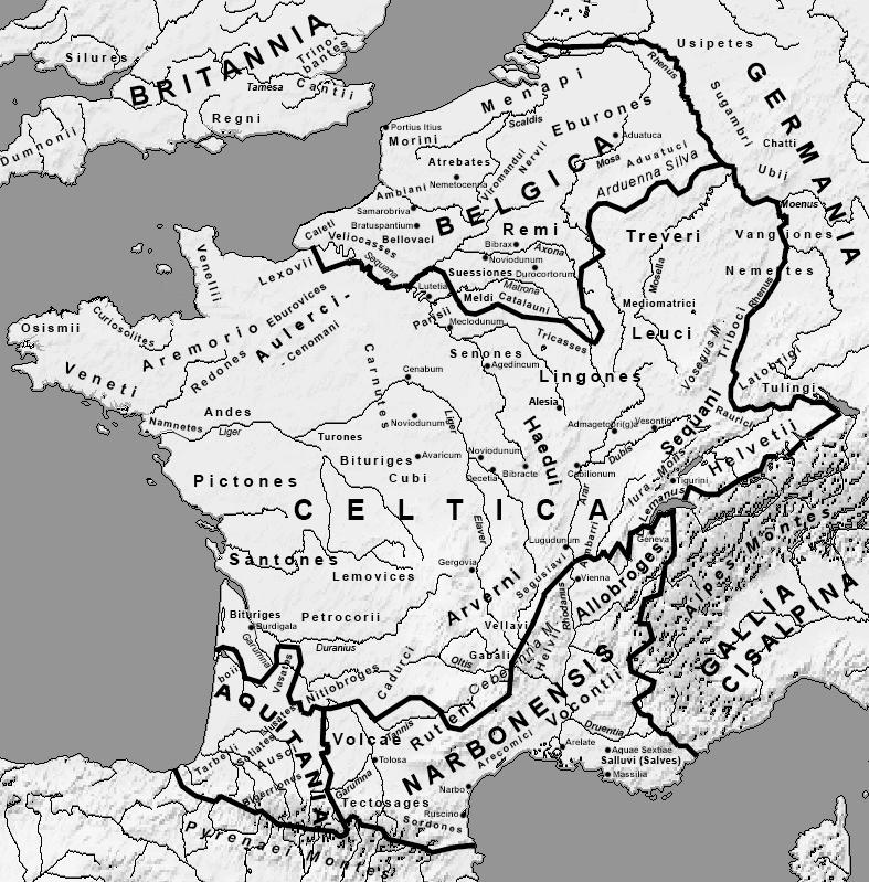 Plemiona galijskie około 58 r. p.n.e.