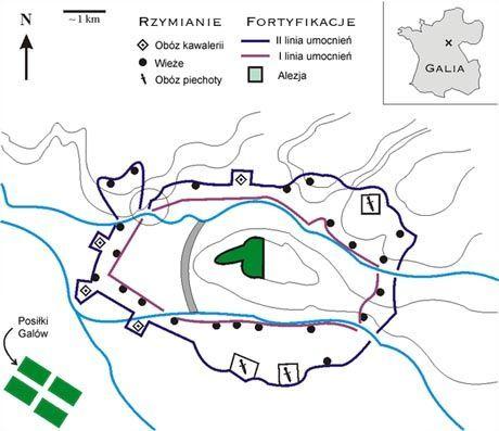 Ustawienie wojsk rzymskich i galijskich w trakcie oblężenia Alezji