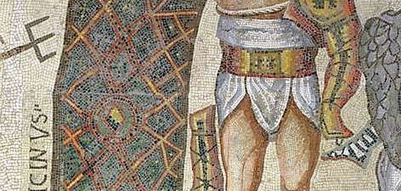 Mosaic showing the winning and losing gladiator