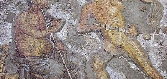 Mosaic showing Achilles and Agamemnon