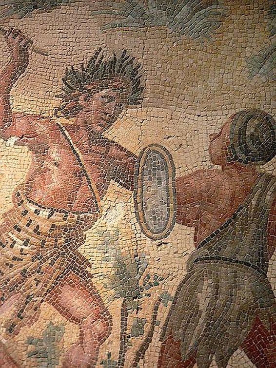 Mozaika ukazująca starcie Bachusa i Hindusów