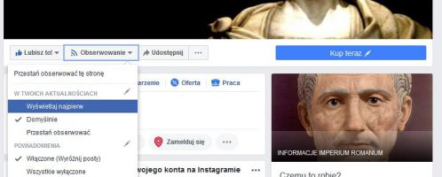 Nie widzisz wpisów IMPERIUM ROMANUM na Facebook'u?