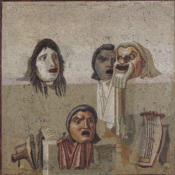 Maski i lira na mozaice