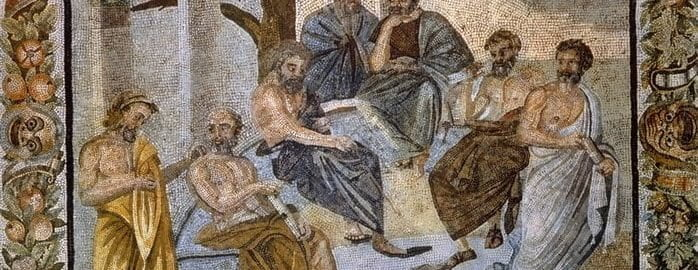 Mosaic showing a group of philosophers from Athens