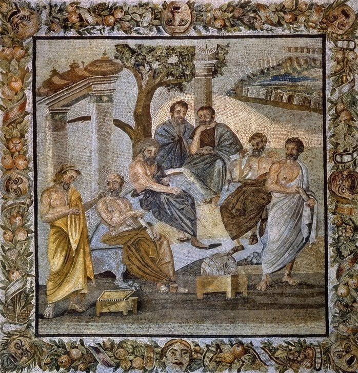 Mosaic showing group of philosophers from Athens