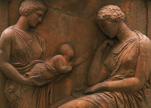 Rzymski relief ukazujący kobietę i dziecko