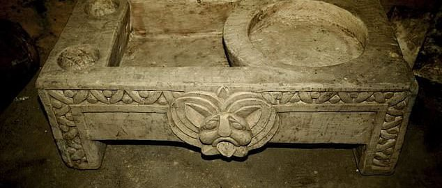 A large Roman bathtub found in a chamber used for religious practice in  the ancient Egyptian capital Memphis
