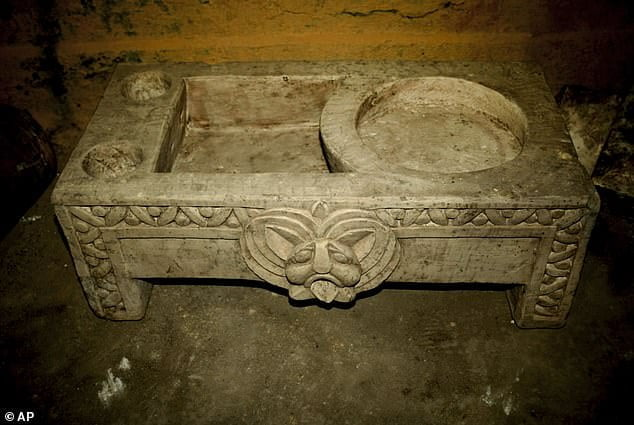 Large Roman wash basin found in the religious chamber in the ancient Egyptian capital of Memphis