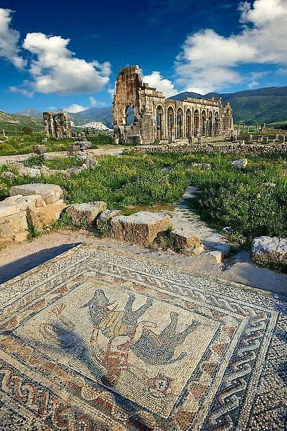 Piękna rzymska mozaika w Maroko