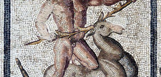 Herkules i łania kerynejska na mozaice rzymskiej