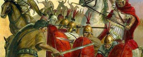 Clash of the Numidian cavalry with the Romans