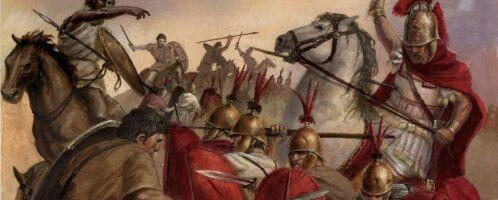 Starcie jazdy numidyjskiej z Rzymianami
