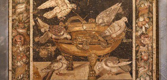 Pigeons on the Roman mosaic