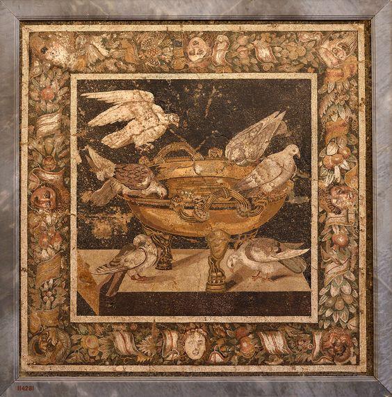Gołębie na rzymskiej mozaice