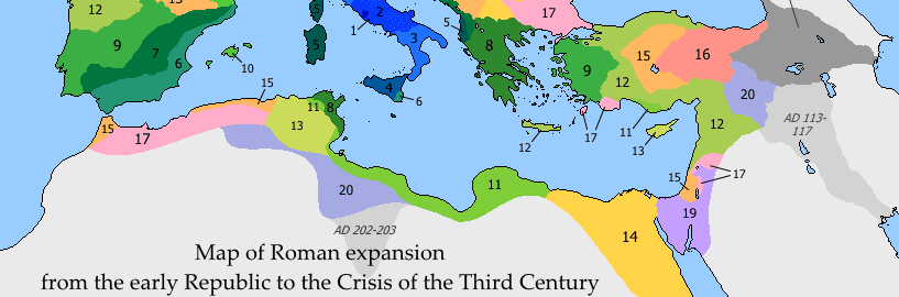 Map showing the growth of the Roman Empire