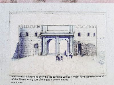 Reconstruction of the Balkerne Gate ruins in Colchester