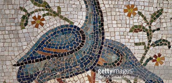 Water birds on the mosaic