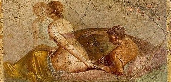 A pair of lovers on a Roman fresco