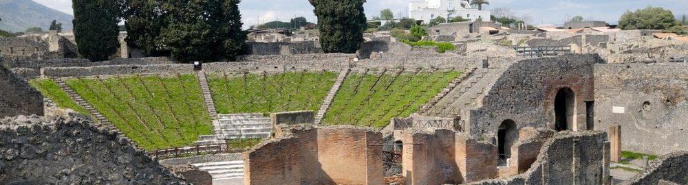 Ruins of large theatre in Pompeii