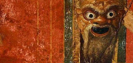 Ciekawa maska z rzymskiego fresku