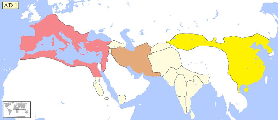 Mapa ukazująca Imperium Rzymskie oraz państwo chińskie pod panowaniem dynastii Han w 1 roku n.e.