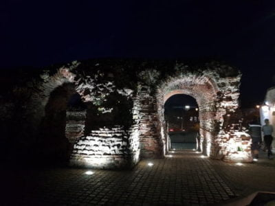 The ruins of Balkerne Gate in Colchester at night