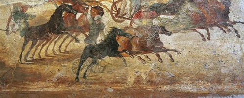 A chariot race in a Roman fresco