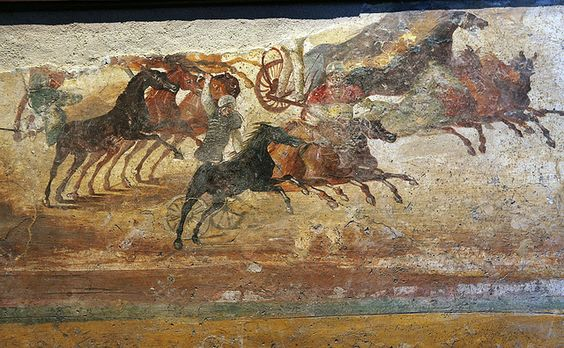 A chariot race in a Roman fresco