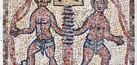 Prasa do winogron na rzymskiej mozaice