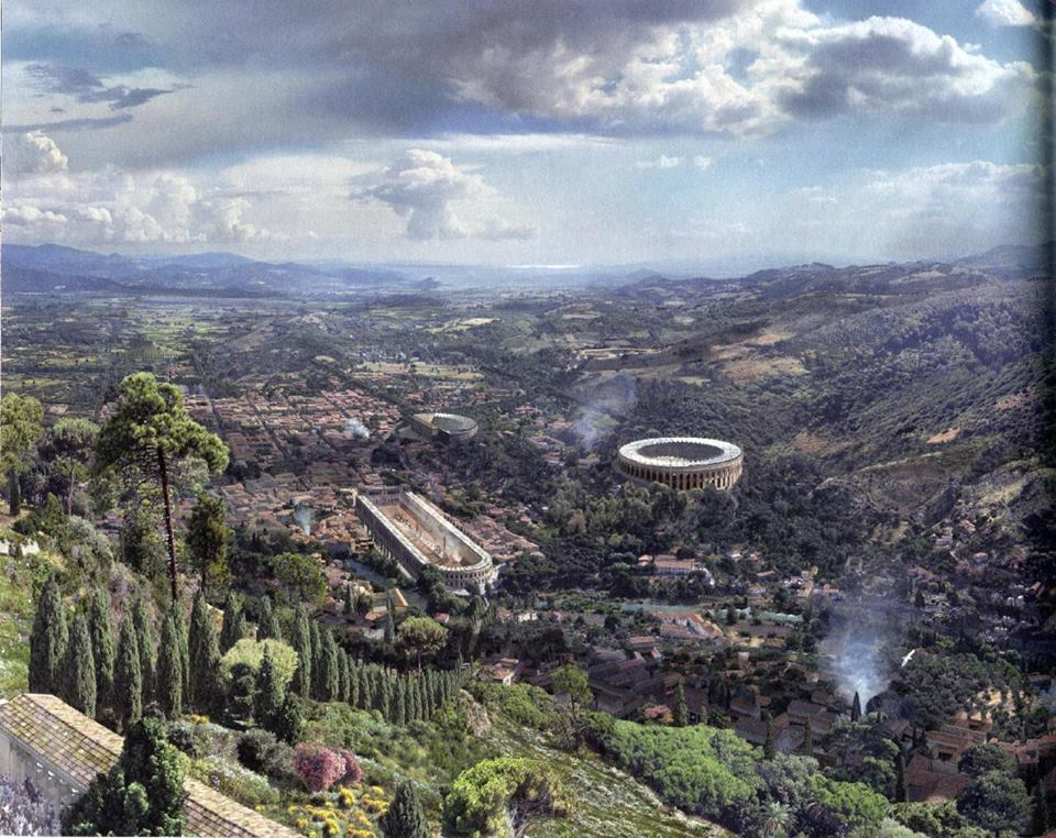 Wizualizacja starożytnej greckiej kolonii Pergamonu, w pobliżu obecnej Bergamy w Turcji, która została przekazana Rzymowi przez Attalusa III w 133 roku p.n.e. Widok z akropolu w II wieku naszej ery.