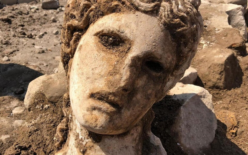The marble head of Bacchus was discovered in Rome