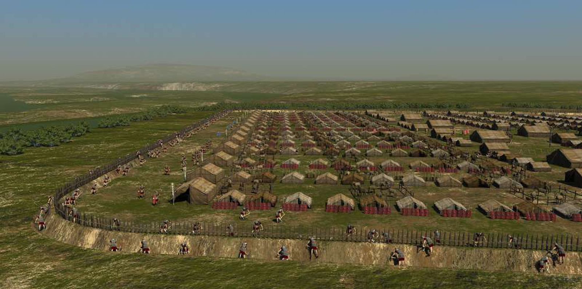 Wizja artystyczna budowy typowego rzymskiego warownego obozu marszowego