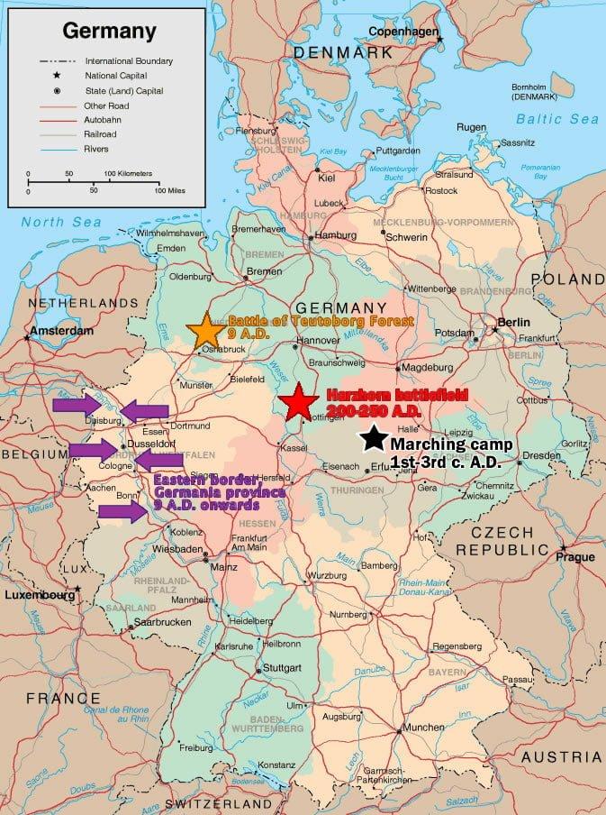 Położenie względem siebie pola bitwy w Lesie Teutoburskim z 9 r. n.e.