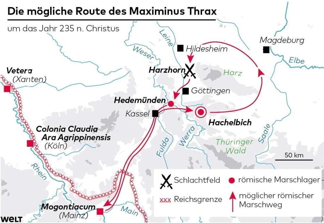 Przypuszczalna marszruta armii rzymskiej pod wodzą cesarza Maksymina Traka w trakcie kampanii 235 r. n.e.